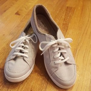 EUC Keds Tan & White Striped Ortholite Sneakers